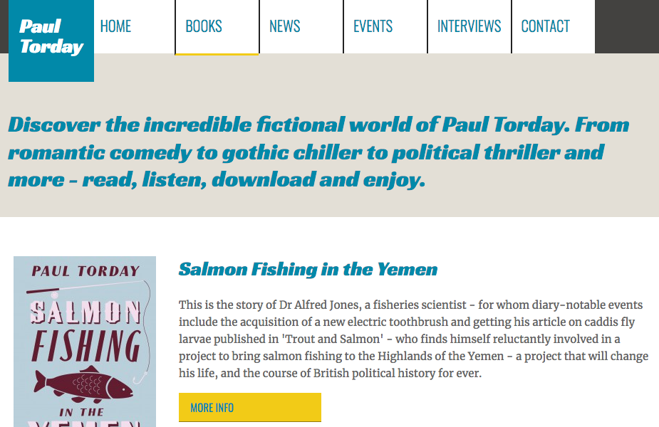 Paul Torday books landing page screengrab