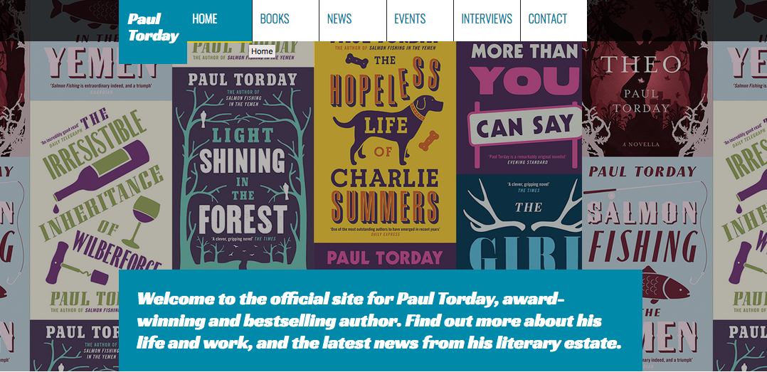 Paul Torday homepage banner screengrab