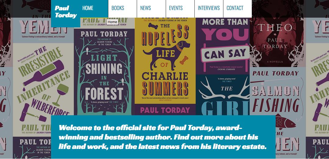 Paul Torday homepage banner screengrab
