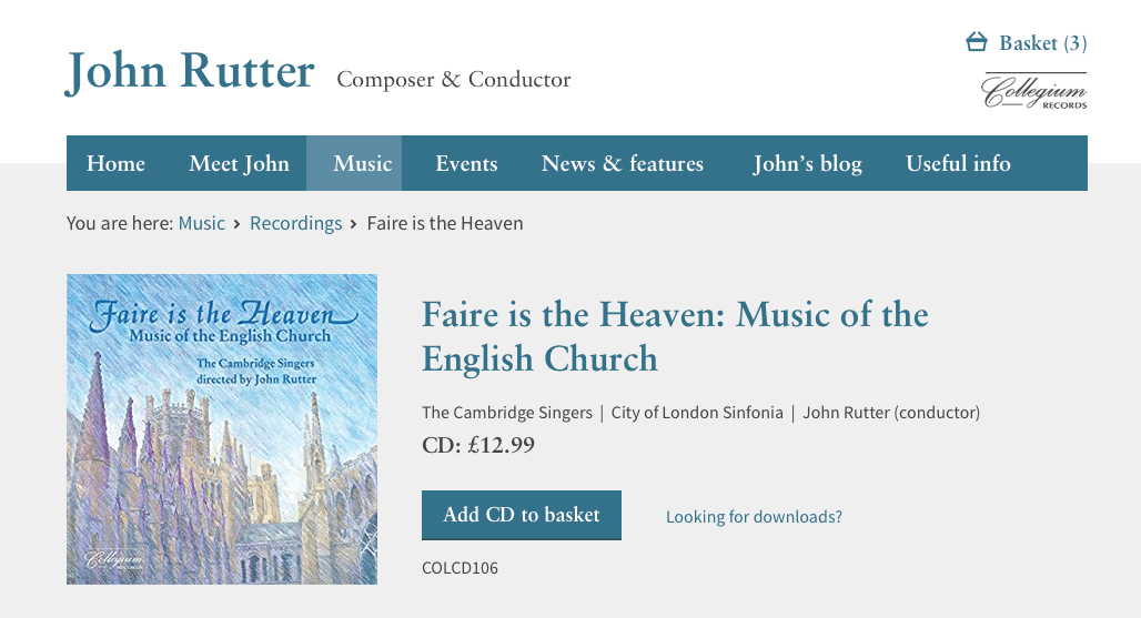 John Rutter Recording detail screenshot